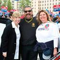 OPEIU Executive Board Member Maria Riggs (R) at a rally in support of labor.