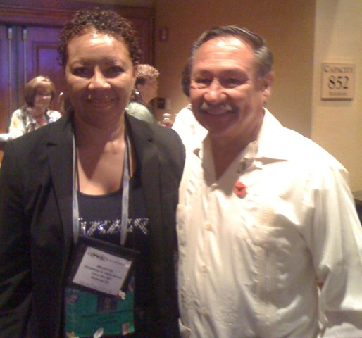 Jacqueline White-Brown, Business Manager (L) with Arturo S. Rodriguez, President of United Farm Workers, at the 2010 OPEIU Convention.
