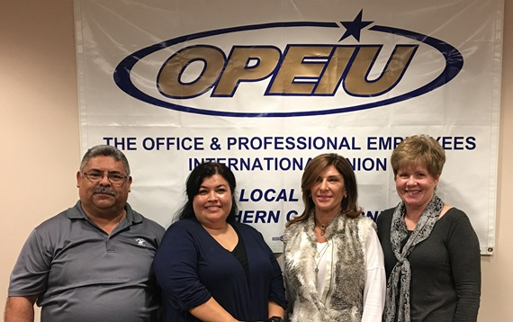 From left are Danny Bojorquez, 10 years; Executive Board Member Rosa Rodriguez, 20 years; Rosie Borzilieri, 35 years; and Ruth Nukala, 40 years.